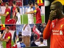 Steven Gerrard shows Mario Balotelli how it's done by refusing to swap shirts after Liverpool's defeat to Real Madrid defeat
